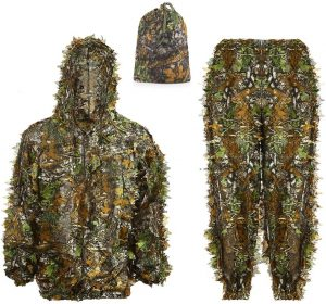 Ghillie Suit Kids Adult 3D Leafy Hooded Camouflage Clothing Outdoor Woodland